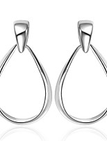 Concise Silver Plated Elliptical Circle Drop Earrings for Party Women Jewelry Accessiories