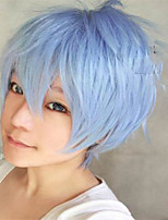 The New Cartoon Color Wig Light Blue Face  Short Straight Hair Wigs
