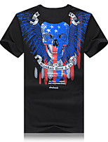 Men's Casual/Work/Sport/Plus Sizes Print Short Sleeve Regular T-Shirts (Cotton Blends)