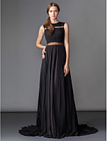 TS Couture Formal Evening Dress - Black A-line Jewel Court Train Chiffon