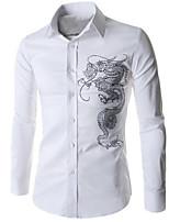 Men's Fashion Personalized Chinese Dragon Rhinestone Slim Long Sleeved Shirt