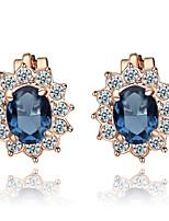 T&C Women's Lovely Blue Crystal Clip-On Earrings Sun Flower 18K Rose Gold Plated Fashion Jewelry