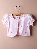 Girl's Cotton Micro-elastic Thin Short Sleeve Sweet Pearl Short Coats