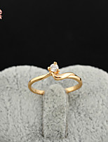 KuNiu Women's High Quality Classic 18K Gold Plated White Zircon Wedding Rings J0313