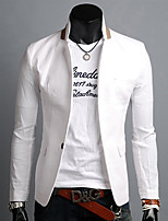 Maimi Men's Casual/Work/Formal Pure Long Sleeve Regular Blazer (Linen)