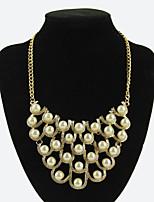 Women's Elegant Pearls Rhinestones Choker Necklaces