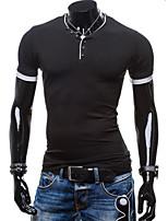 Herren Freizeit/Sport T-Shirt  -  Einfarbig Kurz Baumwollmischung