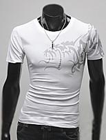 Herren Freizeit/Büro/Formal T-Shirt  -  Druck Kurz Baumwolle