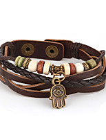 Vilam® Vintage Hamsa Wood Bead Brown Handmade Woven Leather Bracelet