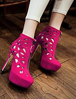 Zapatos de mujer Semicuero Tacón Stiletto Punta Redonda Pumps/Tacones Vestido Negro/Rosa/Rojo