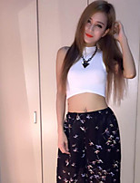 Women's Solid White/Black Vest , Sexy/Casual Turtleneck Sleeveless