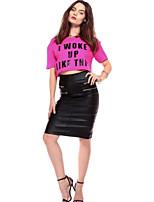 Women's Sexy Casual Cute Plus Sizes Micro Elastic Short Sleeve Short T-shirt (Cotton)