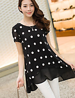 Women's Polka Dot Red/Black Blouse , Casual Round Neck Short Sleeve Mesh