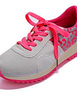 Zapatos de mujer Semicuero Tacón Bajo Punta Redonda Sneakers a la Moda Casual Negro/Rosa/Gris