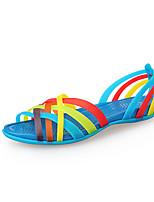 KEKI Women's Shoes Rubber Flat Heel Gladiator/Jelly Sandals Dress/Casual Blue
