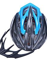 High-Breathability PC+EPS Black Bicycle Helmet With Detachable Sunvisor (24 Vents) - Black + Blue