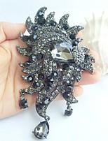 Women Accessories Black Gray Rhinestone Crystal Flower Brooch Art Deco Brooch Bouquet Women Jewelry