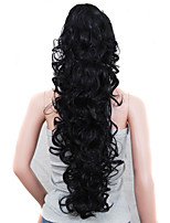 Claw Clip Synthetic 30 Inch Long Curly Ponytail Color Black