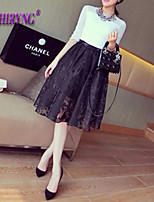 LOCHIRY®Women's Vintage/Sexy/Casual/Lace/Cute Micro-elastic Thin Knee-length Skirts (Lace/Spandex/Polyester)