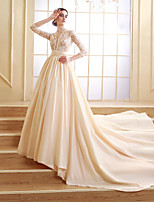 A-line Court Train Wedding Dress -Scalloped-Edge Taffeta