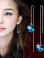 Women's  Heart of Ocean Silver Drop Earrings With Blue Rhinestone