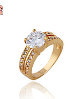 KuNiu Women's High Quality Classic 18K Gold Plated Zircon Wedding Rings J0008