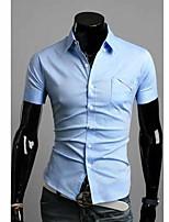 Camisa De los hombres Casual/Trabajo Un Color - Mezcla de Algodón - Manga Corta