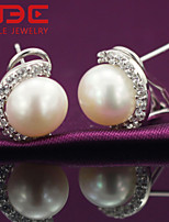 NBE Sterling Silver/Imitation Pearl/Zircon Earring Stud Earrings/Clip Earrings Wedding/Party/Daily/Casual 1pair