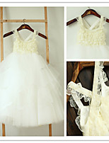 Flower Girl Dress Tea-length Lace/Tulle A-line Sleeveless Dress