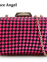 Women's Diamond Lattice Satin linen Clutch Handbags Chain Party Evening Handbag