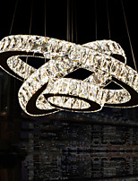 Round LED Pendant Lights Modern Lighting Warm White Three Rings D203040 Clear K9 Large Crystal Ceiling Lights Fixtures