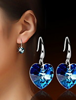 Women's Heart-Shaped Angel Tears Silver and Gold Drop Earrings With Bule Rhinestone