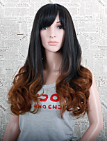Ombre Black and Light Brown Synthetic Wig 28 Inch Fashion Long Wave with Side Bangs
