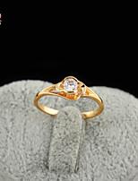 KuNiu Women's High Quality Classic 18K Gold Plated White Zircon Wedding Rings J0330