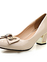 Women's Shoes Patent Leather Chunky Heel Heels/Platform/Round Toe/Closed Toe Pumps/Heels Casual Black/Beige