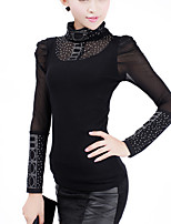 Women's Black Blouse , Sexy/Casual Stand/Turtleneck Long Sleeve Mesh