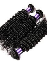 3pcs 8-24inch peruanisches reines Haar tiefe Welle Menschenhaarverlängerungen Farbe # 1b