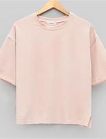 Women's Vintage Beach Casual Work Micro Elastic ¾ Sleeve Regular T-shirt   Cotton