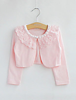 Girl's Cotton/Lace Micro-elastic Thin Long Sleeve Short Coats