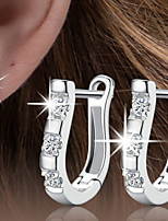 Women's Elegant Silver Hoop Earrings With Cubic Zirconia