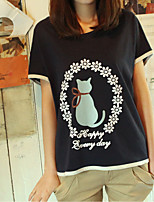 Women's Sexy Casual Print Cute Micro  Elastic Short Sleeve Regular T-shirt (Cotton)