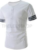 Men's Casual Plaid Spell Short Sleeve Slim T-Shirts