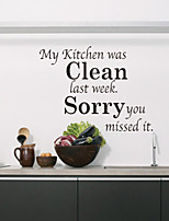 Wall Stickers Wall Decals Style Kitchen Clean English Words & Quotes PVC Wall Stickers
