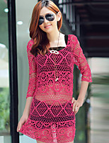 Women's Sexy Casual Lace Micro-elastic ¾ Sleeve Long Blouse (Lace)