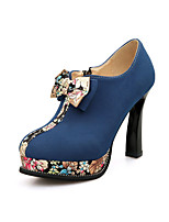 Women's Heels Spring Fall Formal Shoes Leatherette Outdoor Office & Career Dress Casual Chunky Heel Bowknot Blue Green Black