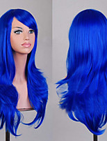 70 cm Long Curly Blue Hair Air Volume High Temperature Silk Wig