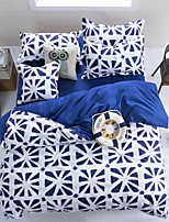 Blue/White Geometry Bedding Set of 4pcs Queen/Twin Set