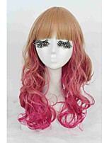 Fashion Women Lady Long Curly Colorful Blonde With Red Rainbow Ombre Wig Synthetic Hair Cosplay Party Hair Wig