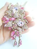 Women Accessories Gold-tone Pink Rhinestone Crystal Flower Brooch Art Deco Brooch Bouquet Women Jewelry