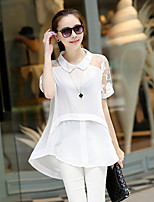 Women's Lace White/Black Blouse , Casual Shirt Collar Short Sleeve Lace